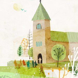 Illustration av kyrka med öppna portar dit folk strömmar in